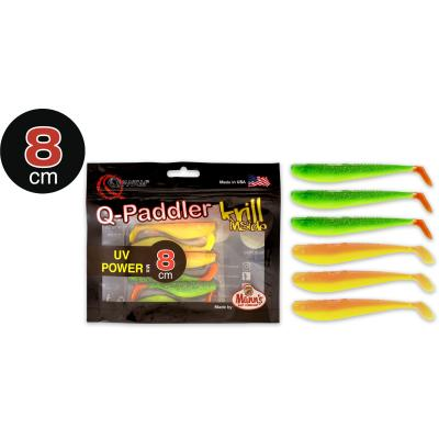 8cm Q-Paddler Power Packs UV 3x hot shad 3x desert sunset Krill