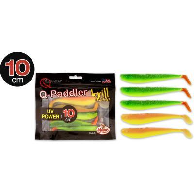 10cm Q-Paddler Power Packs UV 3x hot shad + 2x krill au coucher du soleil du désert