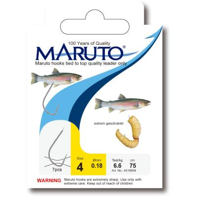 Maruto bee maggot hook tied to a 150cm fluorescent leader size 4 SB6