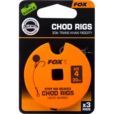 FOX Edge Armapoint stiff rig beaked Chod rigs x 3 30lb sz4 STD