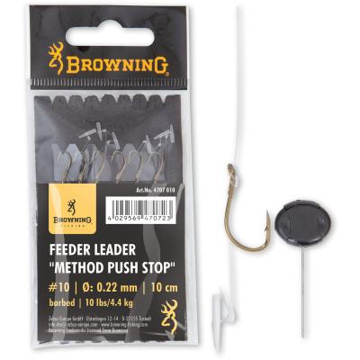 10 Feeder Leader Method Push Stop bronze 10lbs,4,5kg 0,22mm 10cm 6Stück