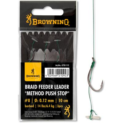 8 Braid Feeder Leader Method Push Stop bronze 6,4kg 0,12mm 10cm 3Stück