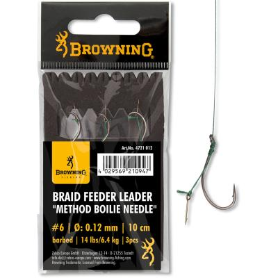 6 Braid Feeder Leader Method Boilie Needle bronze 6,4kg  0,12mm 10cm 3St