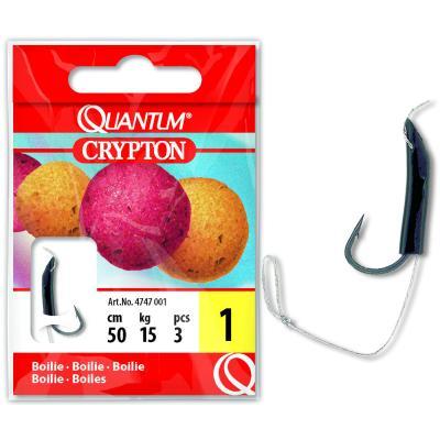 Quantum # 4 Crypton Boilie leader hook black / gunsmoke 15kg 50cm 5 pieces