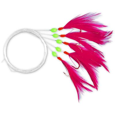 Zebco mackerel leader with 5 red feathers