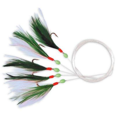 Zebco mackerel leader with 5 green and white feathers