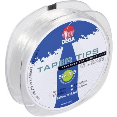 DEGA Taper Tips Clear leader 0,30-0,60mm length: 15m