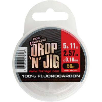 Fox Rage Drop & jig flurocarbon 0.18mm 2.57kg 5.67lb x 50m