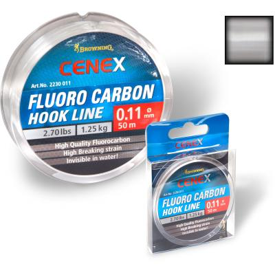 0,11mm Cenex Fluoro Carbon Hook Line 50m 1,25kg,2,70lbs transparent