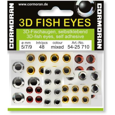 Cormoran 3D Fish Eyes silber/rot/gold 5/7/9mm SB48