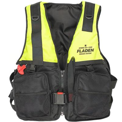 FLADEN life jacket Hybrid 150N yellow inflatable & foam w SOLAS light
