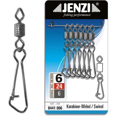 Mousqueton de sécurité JENZI pivotant Black-Nickel taille: 6 à 24kg
