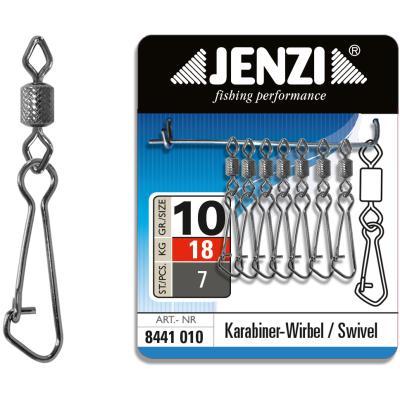 Mousqueton de sécurité JENZI pivotant Black-Nickel taille: 10 à 18kg