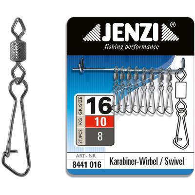 Mousqueton de sécurité JENZI pivotant Black-Nickel taille: 16 à 10kg