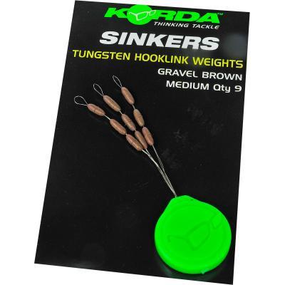 Korda Sinker Tungsten Hooklink Weight - 9 pieces medium brown