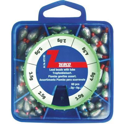 Assortiment de plombs ZEBCO, 2.0-5 g, 60 pièces.