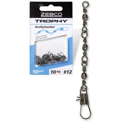 Taille Zebco: 8 L: émerillon à trois voies Trophy 20 mm 16 kg